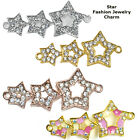 Wishing Star Five Rays Paved Crystal Alloy Bracelet connector Charm Plated 8pcs
