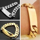 Silver/Gold Top Quality 316L Stainless Steel Mens ID Curb Cuban Chain Bracelet