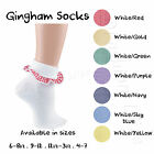 Girls Gingham Ankle Socks School Teen Red Gold Green Purple Navy Sky Yellow