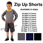 Boys School Shorts Zip Up Uniform Black Grey Navy Age 3 4 5 6 7 8 9 10 11 12