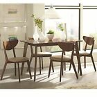 5PC Chestnut Wood Table Deep Curved Back Angled Out Leg Side Chairs Dining Set
