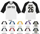Custom Name & Number Personalized Raglan Baseball T-shirt, ARCHED TEXT