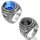 Men's Womens Vintage Patterned Stainless Steel Charm  Ring Band With Glass Stone