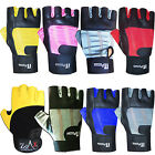 LEATHER WEIGHT LIFTING GLOVES GYM TRAINING BODY BUILDING EXERCISE GLOVES STRAPS