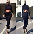 HOT Woman Two Piece Set Black Cropped Top Skirt Celeb Style Long Sleeve Dresses