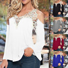 Plus Size S-5XL Lady Blouse Sexy V Neck Lace T-Shirt Long Sleeve Casual Tops New