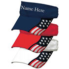 Custom Embroidered USA Freedom Visors USA Flag Womans Cute Tennis Softball