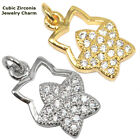 Star Paved Cubic Zirconia Crystal Charm Bracelet Pendant Cooper Material 2pcs