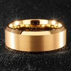 18K Gold Tungsten Carbide Wedding Band Engagement Bridal Ring Comfort Fit 8MM