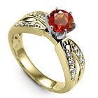 Solid 18k Gold Orange Sapphire and Genuine F-SI1 Diamond Anniversary Ring.