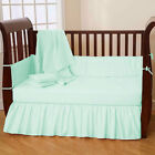 2 Piece Baby Crib Bedding set Solid Dust Ruffle Crib Skirt and Bumper