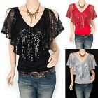 Stunning Sequins Cut Off Shoulders V-Neck Blouse Top