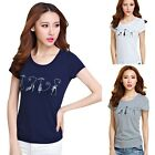 Women Cat Print Cotton Short Sleeve Screw Neck T-Shirt Tops Blouse Basic Tee