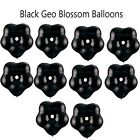 "5 Black Qualatex Geo Blossom Flower Shape Balloons Baby Shower Pacifier 6"" inch"