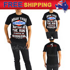AU New Men T-shirt Muay Thai Kick Boxing Pro Training Classic Logo T48 Size S-XL
