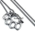 Men's Boy's Knuckle Duster Style Solid 316L Stainless Steel Pendant Necklace set