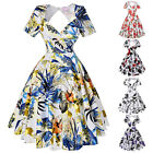 Vintage Womens 50s Retro Floral Pinup Housewife Cotton Formal Party Swing Dress