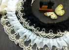 "5 yard 6.5cm 2.55"" black/ivory gold ruffled beads tapes mesh lace trim 3221"