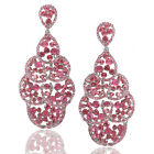 Elegant Crystal Pink Explosion Bridal Chandelier Cocktail Earrings Silver Plated