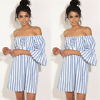 Mini Women 3/4 Sleeve Shoulder Off Striped Dress Summer Cocktail Evening Party A