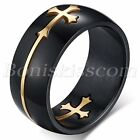 Men's Unique Design Black Stainless Steel Detachable Cross Ring Band Size 7-14