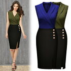 Women New Cocktail Evening Party Casual Work Collar V Neck Contrast Pencil Dress