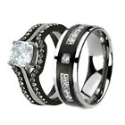 His Hers 3 Pc Men's Women's Stainless Steel Wedding Engagement Ring Band Set ge