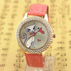 New Luxury Double Crystal Cat Design Heart Women Lady Girls Quartz Watches