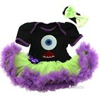 Halloween Monster Black Lime Purple Bodysuit Tutu Party Dress
