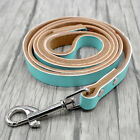"48"" Long Leather Dog Walking Leash Leads for Pets Black Brown Red Pink Blue"