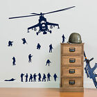 Army Soldiers Helicopters and 17 X Army Men Military Wall Stickers Kids Decal A9