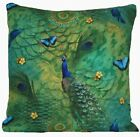 Peacock Cushion Cover Green Printed Cotton Fabric Rectangular & Scatter B