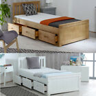 Wooden Storage Bed, Mission 3 Drawer Storage Single 2 Colour 4 Mattress Options