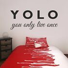 YOLO You Only Live Once Teenagers Inspirational Saying Wall Art Sticker Decal
