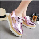 New Stylis European Womens Slingback Lace Up Patent Leather Loafers Casual Shoes