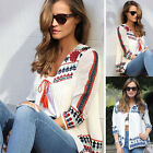 Fashion Womens Long Sleeve Shirt Casual Pirnted Blouse Loose Cotton Tops T Shirt