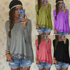 New Fashion Women's Loose Long Sleeve Lace Casual Blouse Shirt Tops Blouse NEW