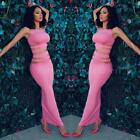 New Women 2 Piece Bodycon Crop Top Dress Set  Party Club Sexy Bandage Outfit