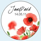 Personalised Wedding Stickers Labels 4 sizes Red Poppies 014