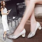 Office Women's Formal Faux Leather Chunky Heel Work Shoes Footware Pointed Shoes