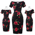 Women Vintage Floral Casual Bodycon Cocktail Party Wiggle Pencil Dress Size 4~18