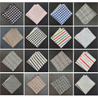 Handmade Men Checks Plaid Stripe Rolled Edge Cotton Pocket Square Handkerchief
