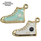 Converse Tennis Shoe Paved Cooper Crystal Jewelry Pendant Charm Gold Plated 6pcs