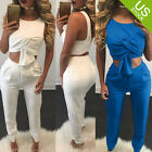 Women 2 Pieces Outfit Sleeveless Top and Bodycon Long Pants Jumpsuit