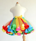 Handmade newest Ribbon fluffy colorful Rainbow tulle 1T- 8Y girls tutu skirt