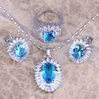 Sky Blue Topaz & White Topaz Silver Jewelry Sets Earrings Pendant Ring S0408