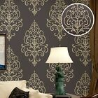 Victorian Retro 3D Textured Damask Wallpaper,Brown