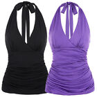 Summer Women Backless Tops Sexy Pleated V-Neck Halter Top Vest T-Shirt