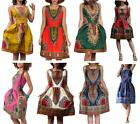 New Women Dress Traditional African Clothing Dashiki Lady short Pleated Dress