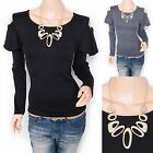 Unique Free Necklace Cut Off Shoulders Long Sleeves Blouse Top
